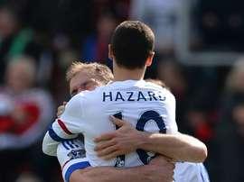 Eden Hazard logró sus dos primeros goles en la Premier League en la presente temporada. AFP