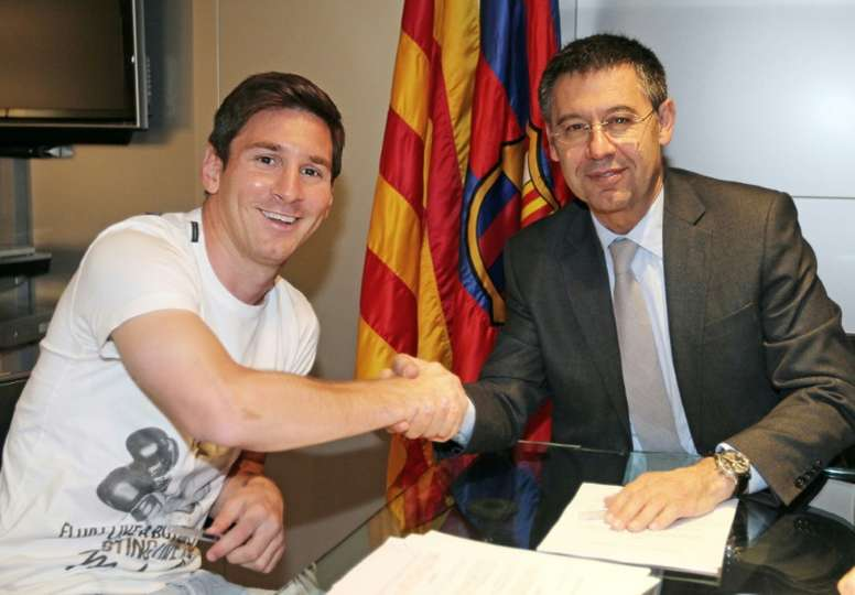 Bartomeu says Messi is best player in history. AFP