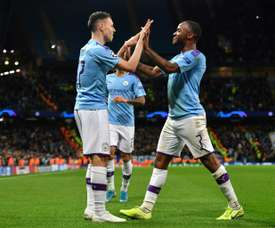 Pep keeps on praising Foden (L), but is not playing him. AFP