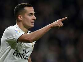 Lucas Vazquez after scoring Real Madrids second in their convincing win over Valencia. AFP