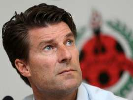 New coach of Qatar league champions Al Rayyan Michael Laudrup takes part in a press conference. AFP