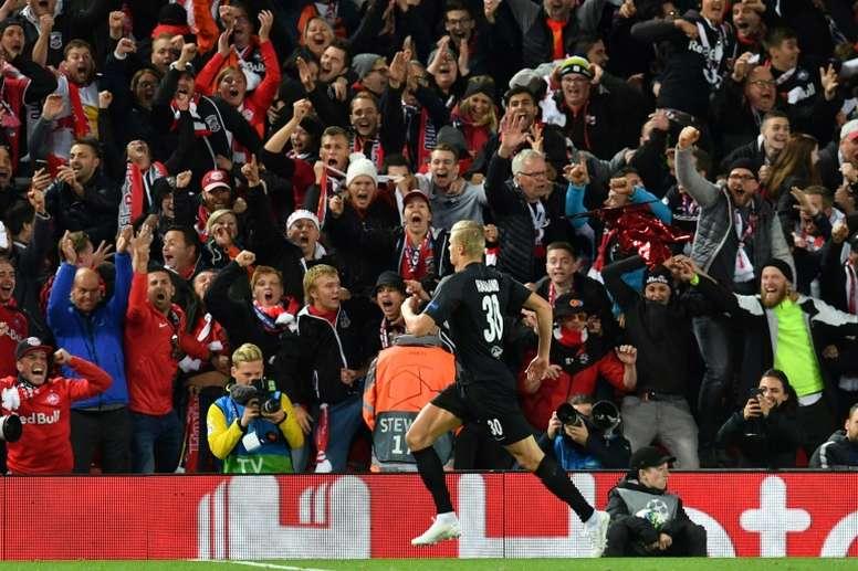 El Manchester United quiere reforzarse con Haaland. AFP/Archivo