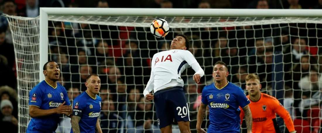Spurs cruised to victory over AFC Wimbledon. AFP