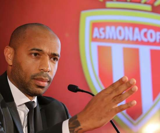 Thierry Henry gives his first press conference as Monaco manager after taking over at Monaco. AFP