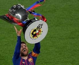Barcelona sealed the La Liga triumph with a 1-0 victory over Levante. AFP