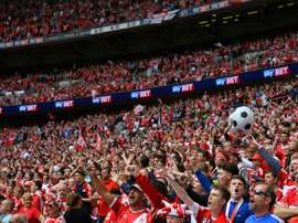Middlesbrough fans wait for kick off of the English Championship play off final football match between Middlesbrough and Norwich City at Wembley Stadium in London on May 25, 2015