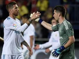 Luca high-fived Sergio Ramos after his debut. AFP