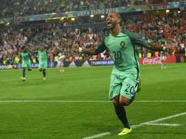 Portugals forward Ricardo Quaresma celebrates after scoring during the round of sixteen match Croatia vs Portugal on June 25, 2016
