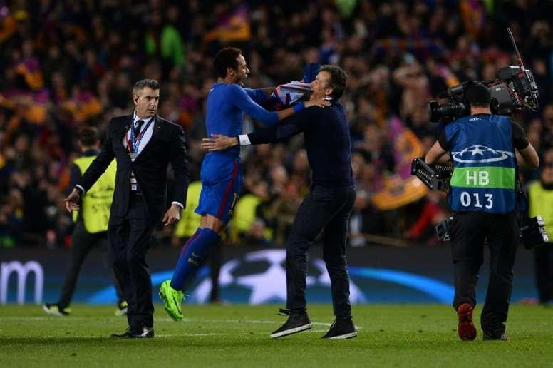 Neymar no ha olvidado un tanto histórico. AFP