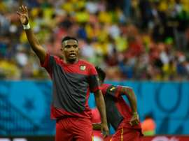 Cameroons forward Samuel Etoo warms up before the Group A football match between Cameroon and Croatia in the Amazonia Arena in Manaus during the 2014 FIFA World Cup on June 18, 2014