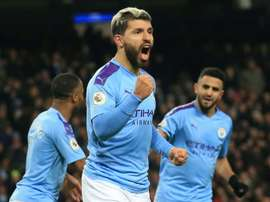Sergio Aguero scored a hat trick in the game, the 12th of his career. AFP