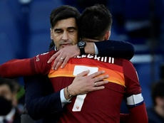 Roma beat Spezia right at the death on Saturday. AFP