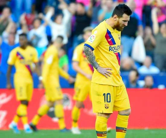 Messi gave Barcelona the lead, but he ended up on the losing side v Levante. AFP