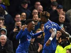 Hudson-Odoi and Abraham got on the scoresheet in Chelsea's win over Burnley. AFP