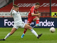 Nick Tsaroulla (R) helped League 2 side Crawley knock out Leeds United. AFP