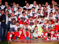 Five Red Star Belgrade players test positive for coronavirus after matches with crowds. AFP
