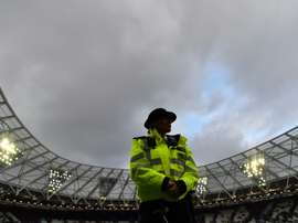 Police were hsown spraying fans at the match. AFP