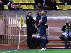 Kylian Mbappe netted twice in PSG's 1-4 win over Monaco. AFP