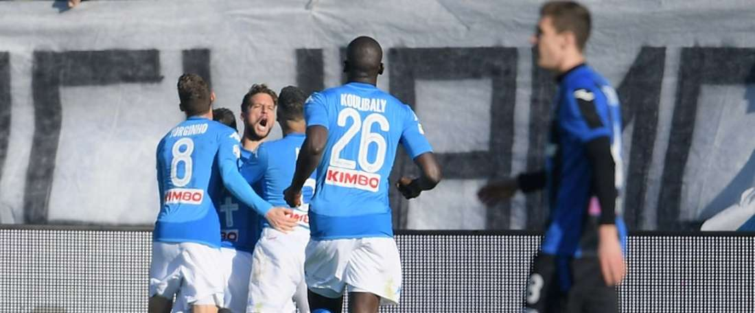 Mertens' goal sent Napoli four points clear at the summit of Serie A. AFP