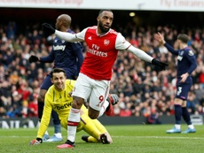 Lacazette scored the only goal of the game for Arsenal after a VAR review. AFP