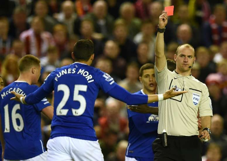 Ramiro Funes Mori was sent off in the Merseyside derby at Anfield last season. AFP