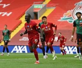 Sadio Mane (C) broke the deadlock for Liverpool at Anfield. AFP