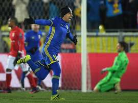 Rostov midfielder Christian Noboa celebrates after scoring from a free-kick. AFP