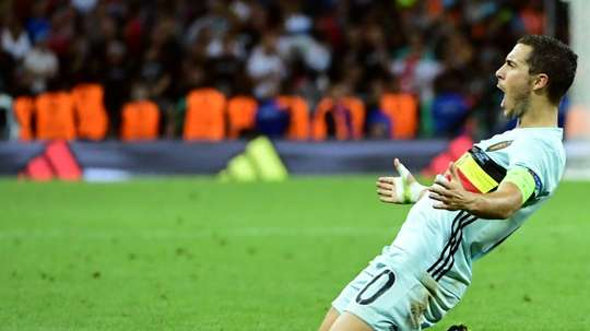 Belgiums forward Eden Hazard celebrates after scoring his teams third goal during the Euro 2016 round of 16 football match between Hungary and Belgium at the Stadium Municipal in Toulouse on June 26, 2016