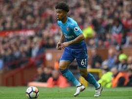 Reiss Nelson in action at Old Trafford. AFP