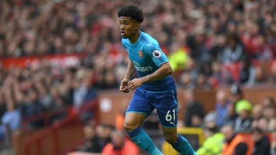 Reiss Nelson pictured in action at Old Trafford. AFP