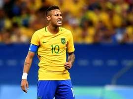 Brazils player Neymar reacts during the Rio Olympics mens football match against Iraq, at the Mane Garrincha Stadium in Brasilia on August 7, 2016