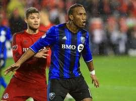 O atacante africano abandonou o Montreal Impact a começos deste ano. AFP