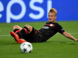 Joel Pohjanpalo reacts during the match between Bayer Leverkusen and Moscow. AFP