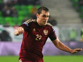 Russias Artyom Dzyuba during a friendly against Hungary in 2014
