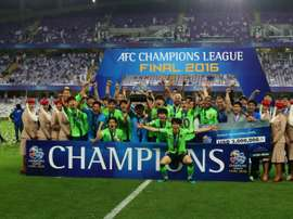 Jeonbuk players celebrate following their AFC Champions League win against between Al-Ain. AFP