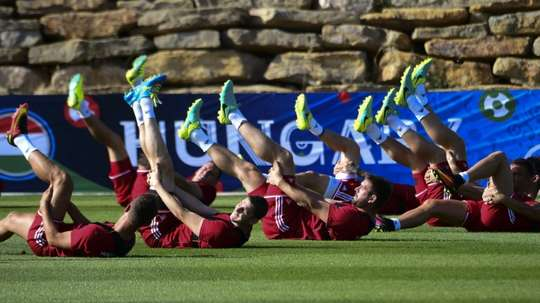 Hungarys players take part in a training session in Tourrettes, southern France, ahead of their Euro 2016 round of 16 football match against Belgium