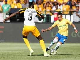 Uruguayan Gaston Sirino (R) scored twice for Mamelodi Sundowns. AFP