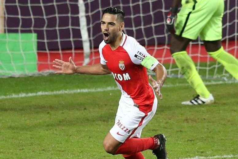 Monaco's Radamel Falcao celebrates after scoring a goal against Nancy. AFP
