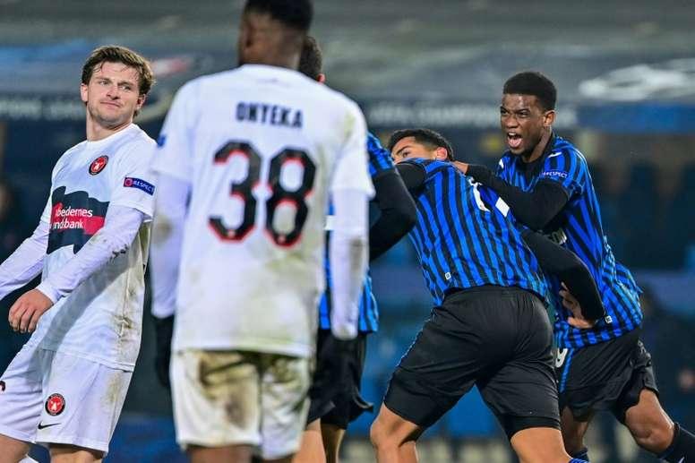 Romero secures crucial point for Atalanta against Midtjylland. AFP