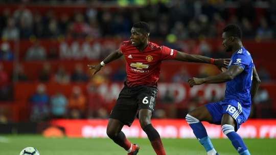 Pogba was given the captain's armband against Leicester. AFP