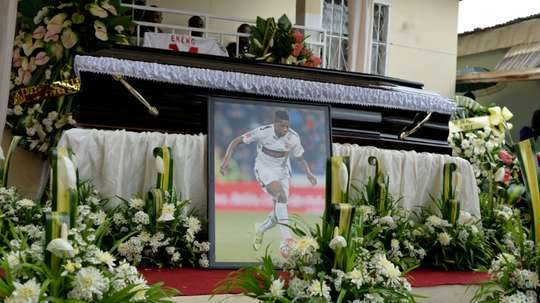 The casket and portrait of international soccer star Patrick Ekeng, who died after collapsing during a match in Romania, during his funeral in Yaounde on May 15, 2016