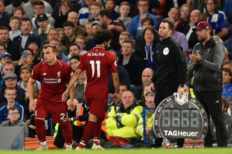 Salah has apparently had a mass argument with Klopp. AFP
