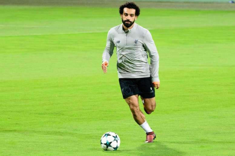Salah is back in training with Liverpool. AFP