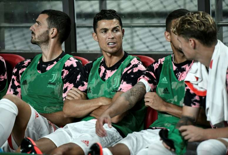 Cristiano Ronaldo (C) stayed on the bench during the exhibition match in Seoul last year. AFP