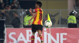 Saad Bguir celebrates after scoring his second goal during the CAF Champions League. AFP