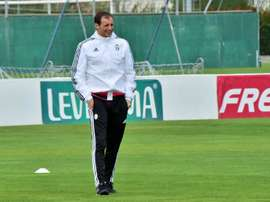 Juventus coach from Italy Massimiliano Allegri looks on during a training session on the eve of the UEFA Champions League football match Juventus vs Sevilla FC at Vinovo Training centre  on September 29, 2015 in Turin