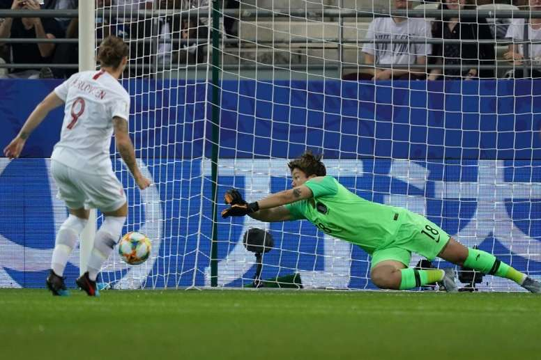 Isabell Herlovsen's penalty ensured that Norway finished in second spot in Group A. AFP