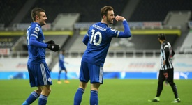 Leicester up to third after beating Newcastle. AFP