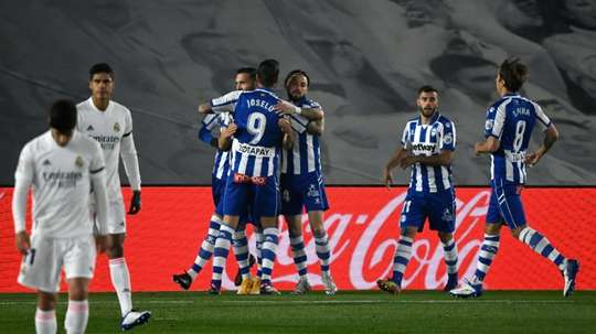 Lucas Perez (L) scored as Alaves beat Real Madrid 1-2. AFP