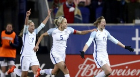 Jordan Nobbs (middle) will face Scotland in the European Championship in the Netherlands. AFP